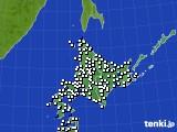 北海道地方のアメダス実況(風向・風速)(2016年08月10日)