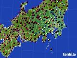 関東・甲信地方のアメダス実況(日照時間)(2016年08月11日)
