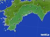 高知県のアメダス実況(風向・風速)(2016年08月11日)