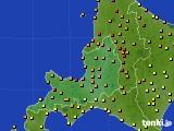 2016年08月13日の道央のアメダス(気温)