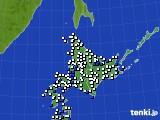 北海道地方のアメダス実況(風向・風速)(2016年08月13日)