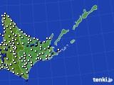 道東のアメダス実況(風向・風速)(2016年08月13日)