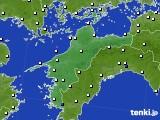 愛媛県のアメダス実況(風向・風速)(2016年08月13日)