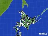 北海道地方のアメダス実況(風向・風速)(2016年08月14日)