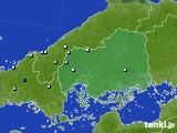 広島県のアメダス実況(降水量)(2016年08月15日)