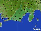 静岡県のアメダス実況(気温)(2016年08月18日)