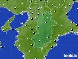 奈良県のアメダス実況(風向・風速)(2016年08月18日)