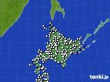 北海道地方のアメダス実況(風向・風速)(2016年08月21日)
