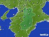 奈良県のアメダス実況(風向・風速)(2016年08月21日)