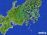 関東・甲信地方のアメダス実況(降水量)(2016年08月22日)