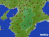 奈良県のアメダス実況(気温)(2016年08月22日)