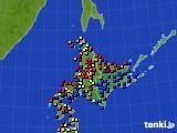 北海道地方のアメダス実況(日照時間)(2016年08月25日)