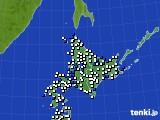 北海道地方のアメダス実況(風向・風速)(2016年08月25日)