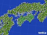 四国地方のアメダス実況(風向・風速)(2016年08月25日)