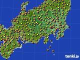 2016年09月25日の関東・甲信地方のアメダス(気温)