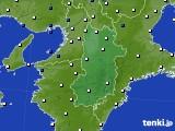 奈良県のアメダス実況(風向・風速)(2016年10月10日)