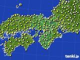 2016年10月14日の近畿地方のアメダス(気温)