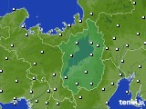2016年10月14日の滋賀県のアメダス(風向・風速)