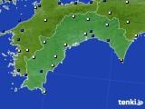 高知県のアメダス実況(風向・風速)(2016年12月27日)
