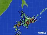 北海道地方のアメダス実況(日照時間)(2017年01月02日)