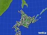 北海道地方のアメダス実況(風向・風速)(2017年01月02日)