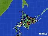 北海道地方のアメダス実況(日照時間)(2017年01月10日)