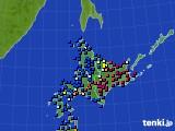 北海道地方のアメダス実況(日照時間)(2017年01月12日)