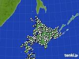 北海道地方のアメダス実況(風向・風速)(2017年01月12日)