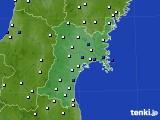 宮城県のアメダス実況(風向・風速)(2017年01月15日)