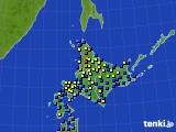 2017年01月18日の北海道地方のアメダス(積雪深)