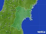宮城県のアメダス実況(降水量)(2017年01月22日)