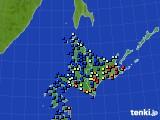 北海道地方のアメダス実況(日照時間)(2017年02月02日)