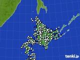 北海道地方のアメダス実況(風向・風速)(2017年02月02日)