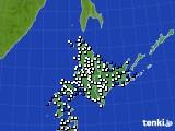 北海道地方のアメダス実況(風向・風速)(2017年02月12日)