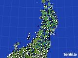2017年05月08日の東北地方のアメダス(風向・風速)