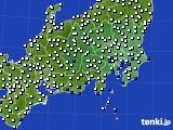 関東・甲信地方のアメダス実況(風向・風速)(2017年07月25日)