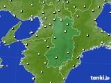 2017年10月22日の奈良県のアメダス(気温)