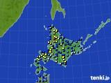 北海道地方のアメダス実況(積雪深)(2018年01月02日)