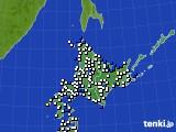 北海道地方のアメダス実況(風向・風速)(2018年01月03日)