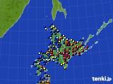 北海道地方のアメダス実況(日照時間)(2018年01月29日)
