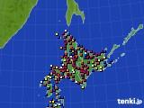 北海道地方のアメダス実況(日照時間)(2018年02月01日)