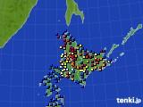 北海道地方のアメダス実況(日照時間)(2018年02月03日)
