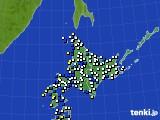 北海道地方のアメダス実況(風向・風速)(2018年02月11日)