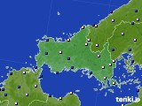 山口県のアメダス実況(風向・風速)(2018年02月11日)
