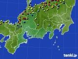 東海地方のアメダス実況(積雪深)(2018年02月13日)