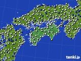 四国地方のアメダス実況(風向・風速)(2018年02月14日)