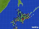 北海道地方のアメダス実況(日照時間)(2018年02月20日)