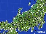 北陸地方のアメダス実況(風向・風速)(2018年02月21日)