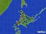 北海道地方のアメダス実況(積雪深)(2018年03月22日)
