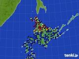 北海道地方のアメダス実況(日照時間)(2018年03月22日)